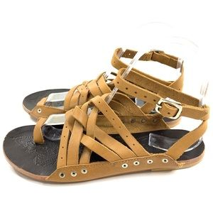 Free People Belize Flat Crisscross Sandals Tan